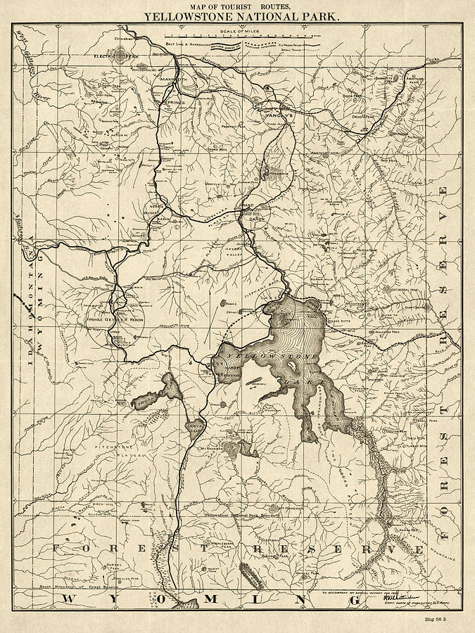 Antique Map Of Yellowstone National Park By The U. S. War Department ...