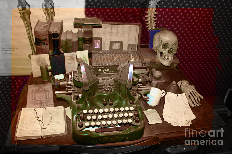 Typewriter Photograph - Antique Oliver Typewriter On Old West Physician Desk  by Janice Rae Pariza - Antique Oliver Typewriter On Old West Physician Desk Photograph By