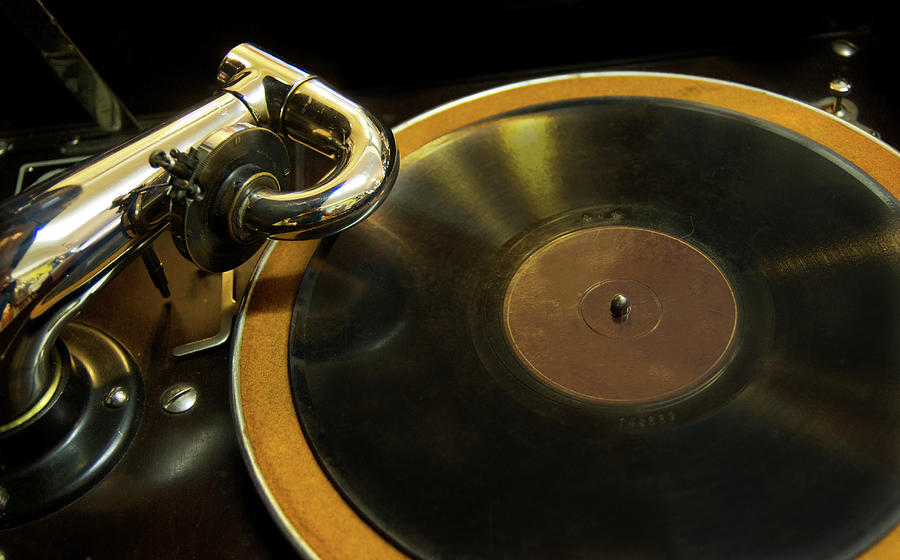 Antique Phonograph With A Record Photograph by Gregory Adams