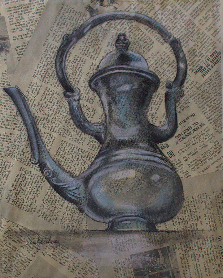Pitcher Drawing - Antique Pitcher by Kathy Weidner