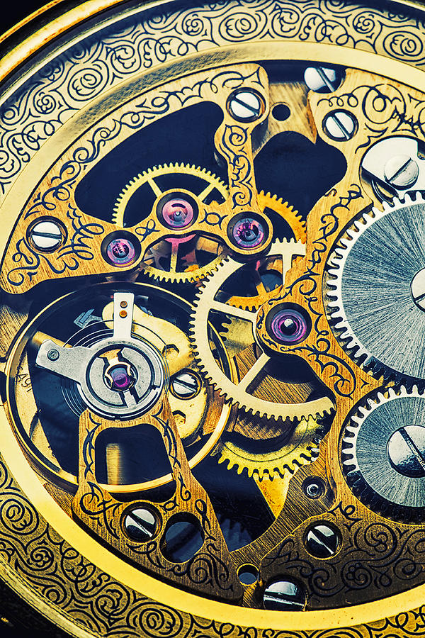 Time Photograph - Antique Pocket Watch Gears by Garry Gay