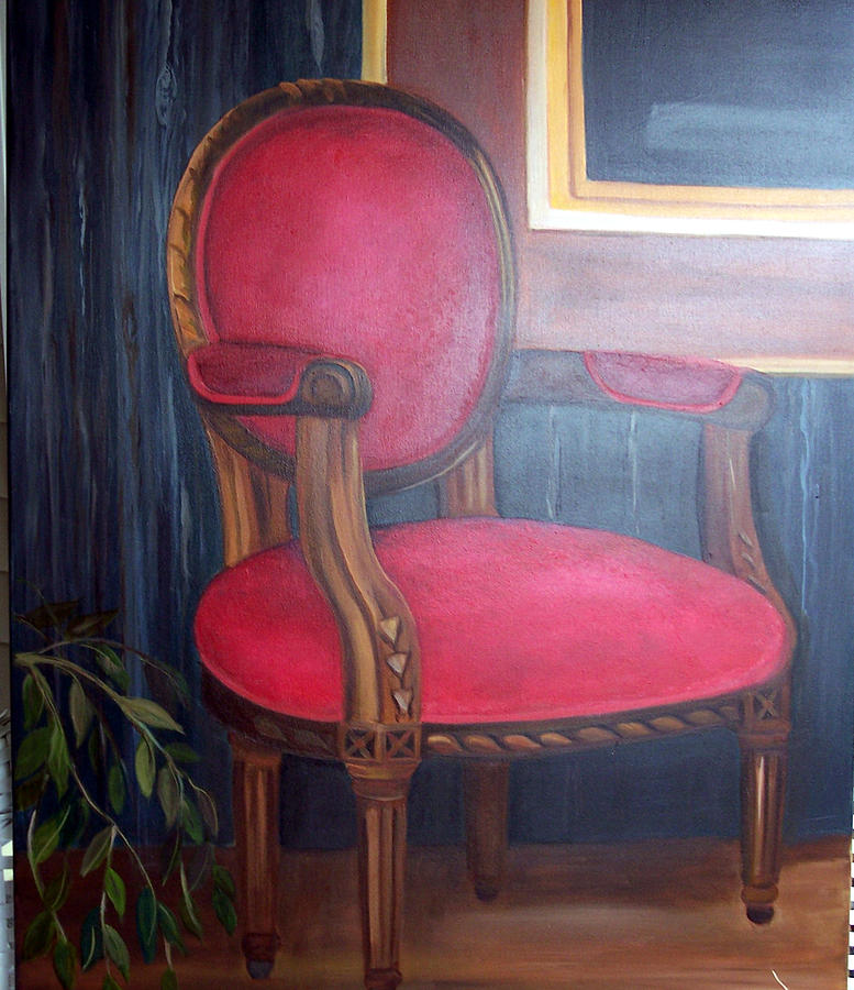 - Antique Red Velvet Chair Painting By Darla Freeman