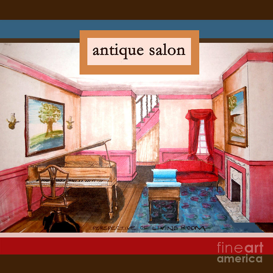 Red Mixed Media - Antique Salon - Colonial Red And Blue by Kristie Hubler