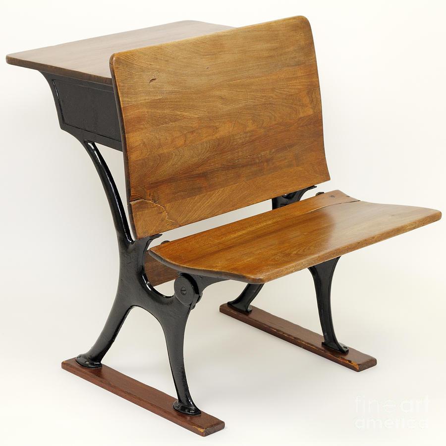 Antique School Desk Chair Combination Photograph By Lee