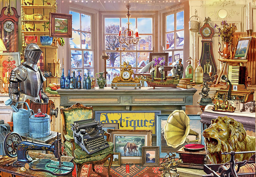 Antiques Painting - Antique Shoppe by MGL Meiklejohn Graphics Licensing
