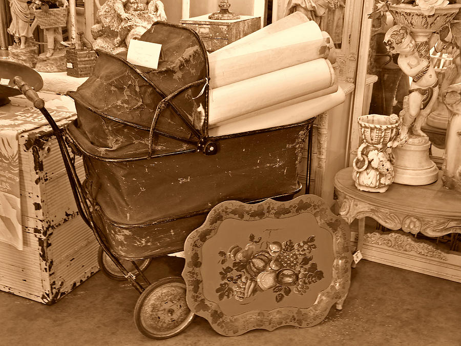 Aged Photograph - Antique Still Life With Baby Carriage And Other Objects In Sepia by Valerie Garner