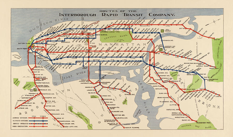 Irt Nyc Subway Map.Antique Subway Map Of New York City 1924 By Blue Monocle