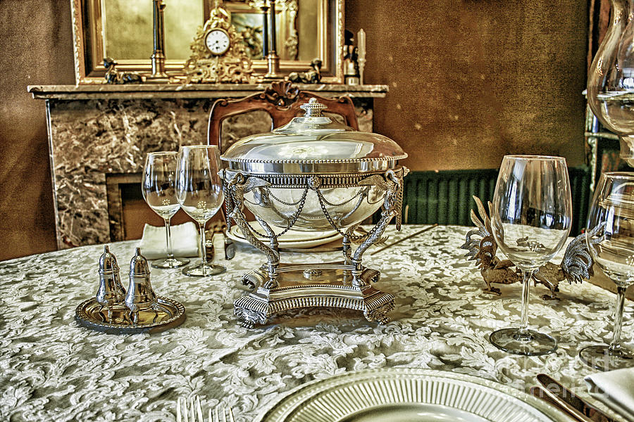 Aged Photograph - Antique Table Setting by Patricia Hofmeester & Antique Table Setting Photograph by Patricia Hofmeester