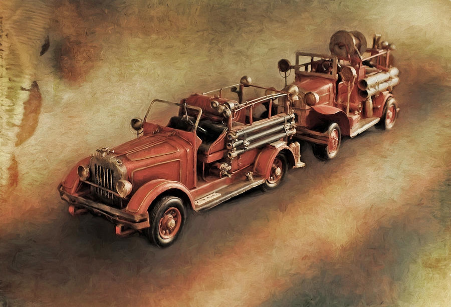 Fire Engine Photograph - Antique Toy Fire Trucks by Liz Mackney