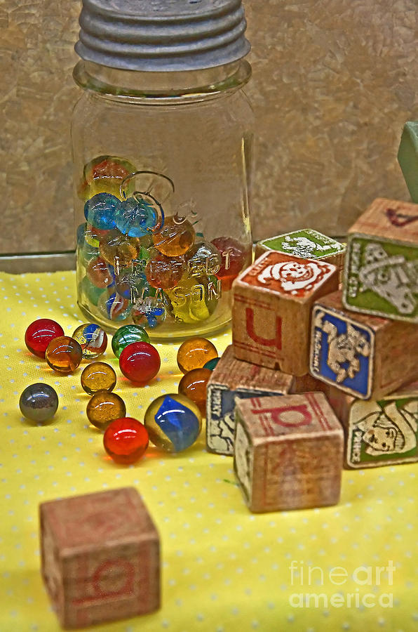 Aged Photograph - Antique Toys by Valerie Garner