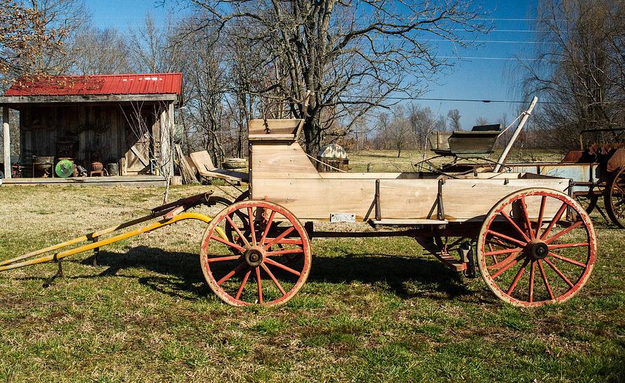 Hay Photograph - Antique Wagon And Mountain Cabin 1 by Douglas Barnett