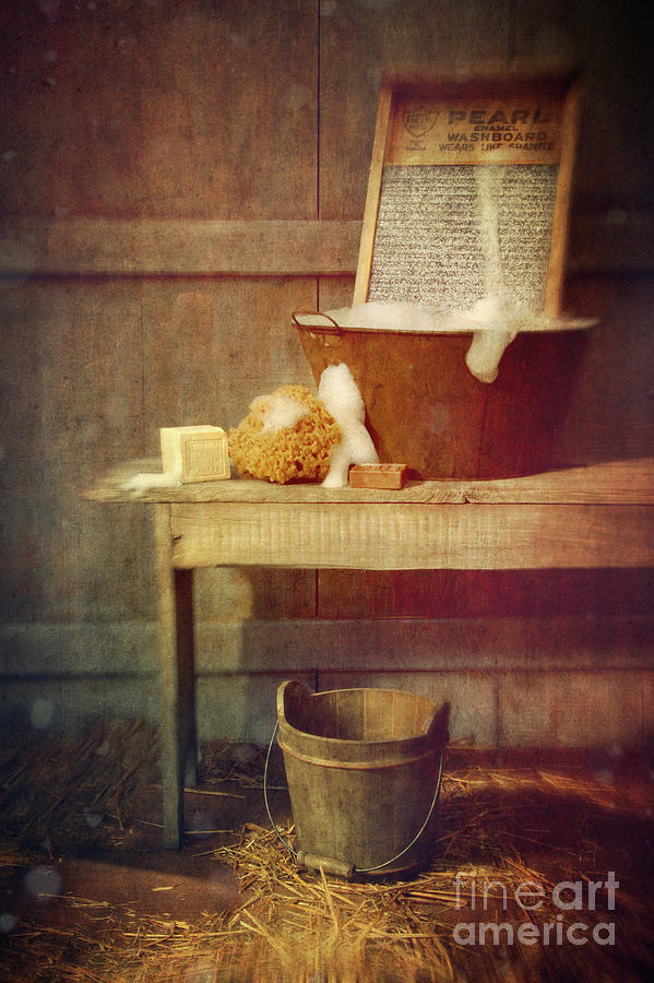 Atmosphere Photograph - Antique Wash Tub With Soaps by Sandra Cunningham