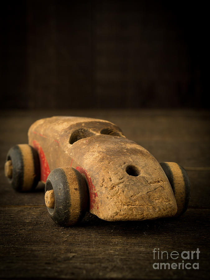 Toy Photograph - Antique Wooden Toy Car by Edward Fielding