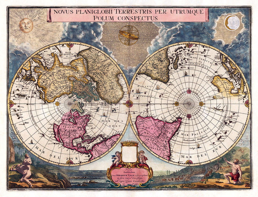 Antique Map Photograph - Antique World Map 1695 Novus Planiglobii Terrestris Per Utrumque Polum Conspectus by Karon Melillo DeVega