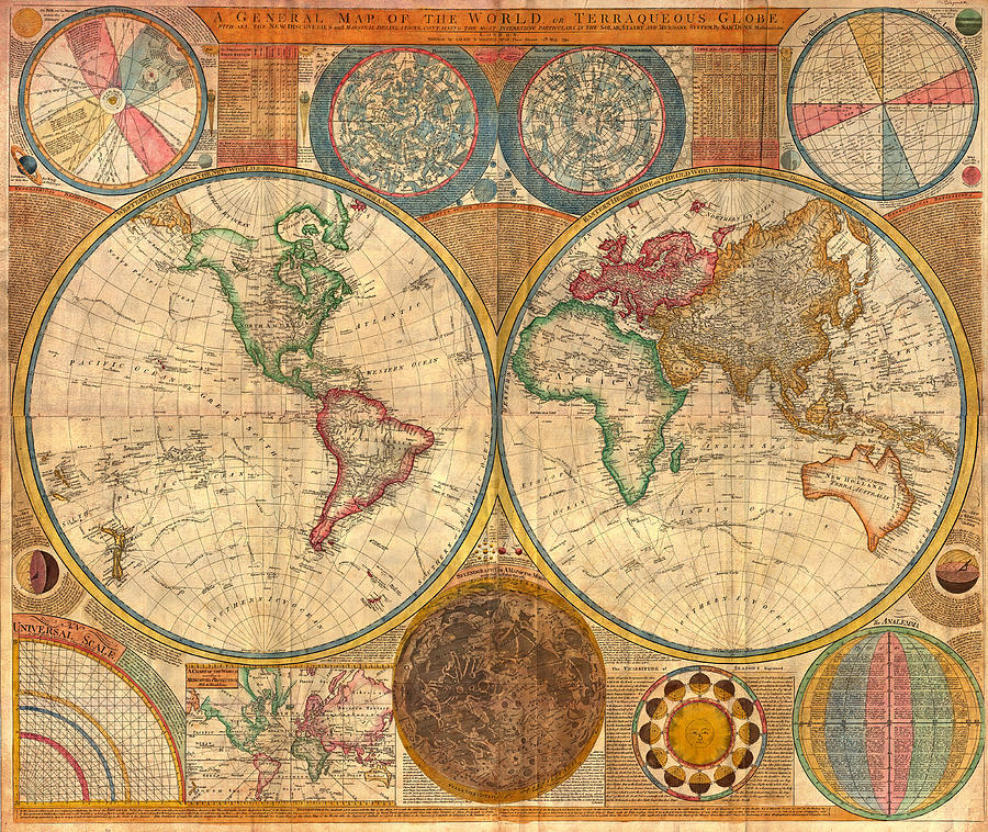 Map Drawing - Antique World Map In Hemispheres 1794 by Mountain Dreams