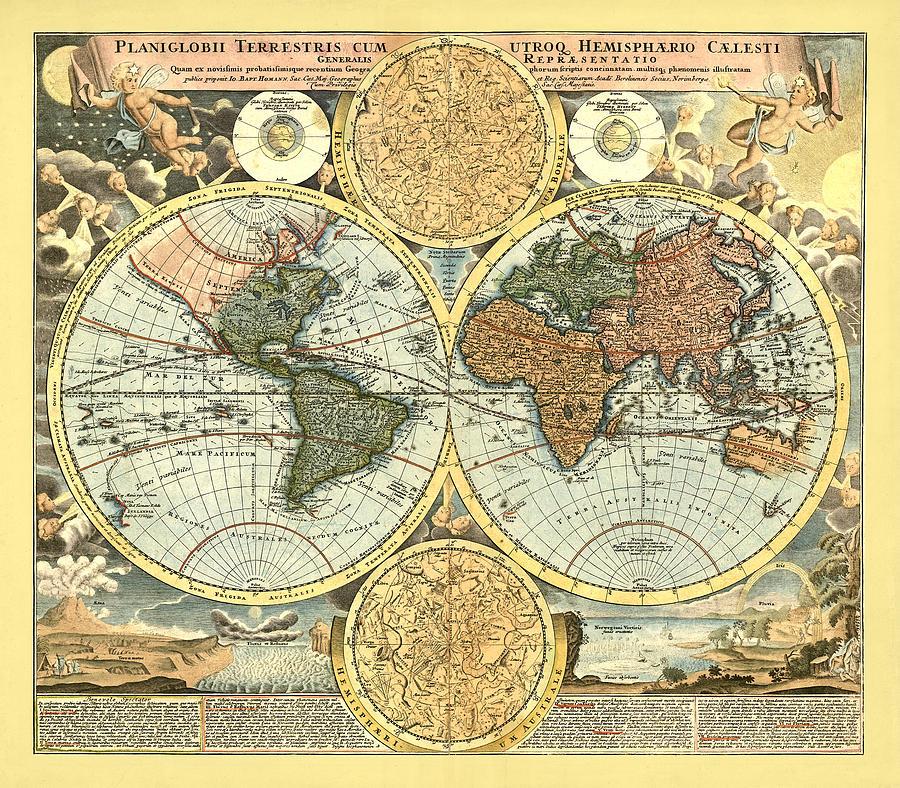 Antique World Mercator Map Digital Art - Antique World Mercator Map by Gary Grayson