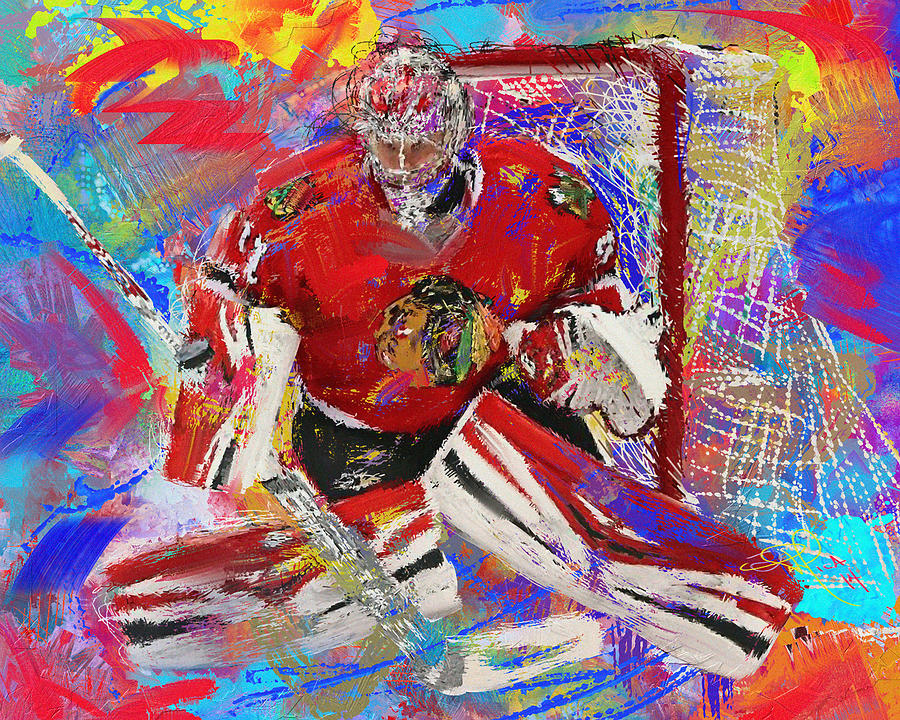 Hockey Painting - Antti Raanta by Donald Pavlica