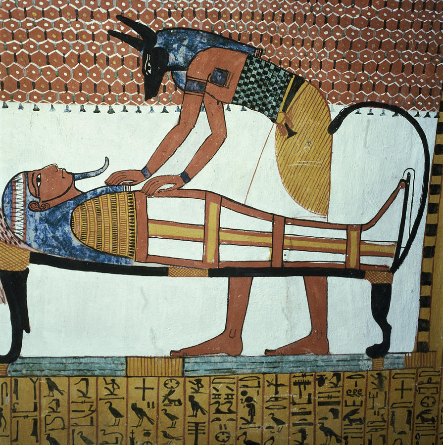 Anubis and a mummy from the tomb of sennedjem the for Egyptian mural art