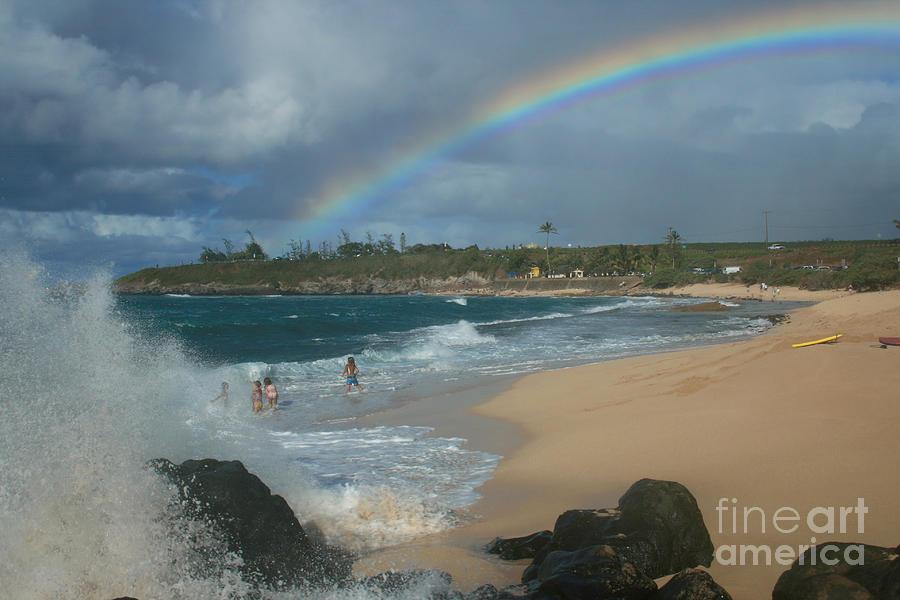 Aloha Photograph - Anuenue - Aloha Mai E Hookipa Beach Maui Hawaii by Sharon Mau
