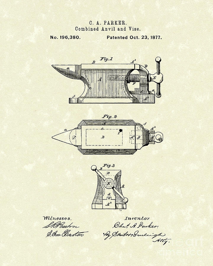 Anvil/vise 1877 Patent Art