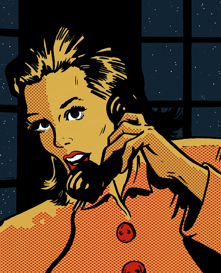 Anxious Woman Talking On Phone In Digital Art by Jacquie Boyd