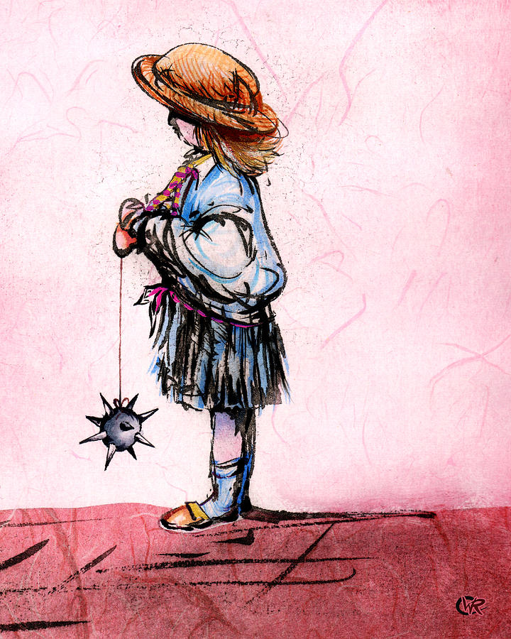 Girl Mixed Media - Anyone Up For Conkers? by William Rowsell