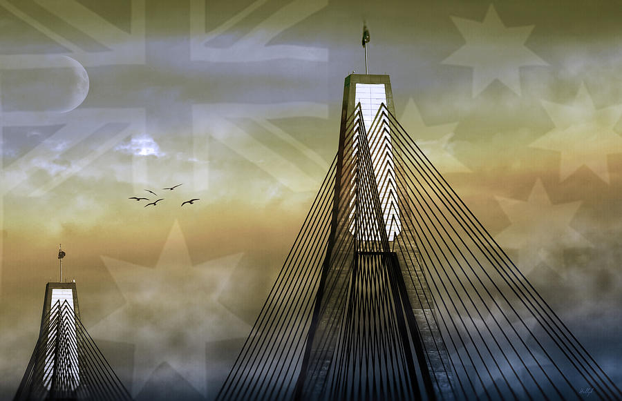 Landmarks Photograph - Anzac Bridge by Holly Kempe