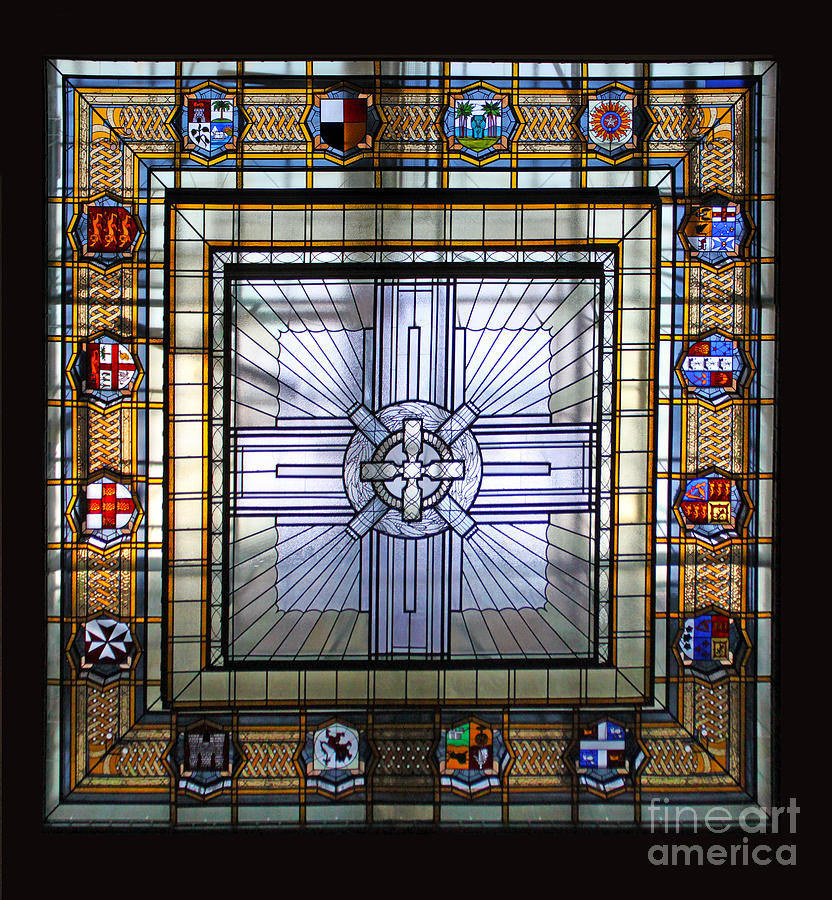 Anzac Day Photograph - Anzac Day 2014 Auckland War Memorial Museum Stained Glass Roof by Gee Lyon