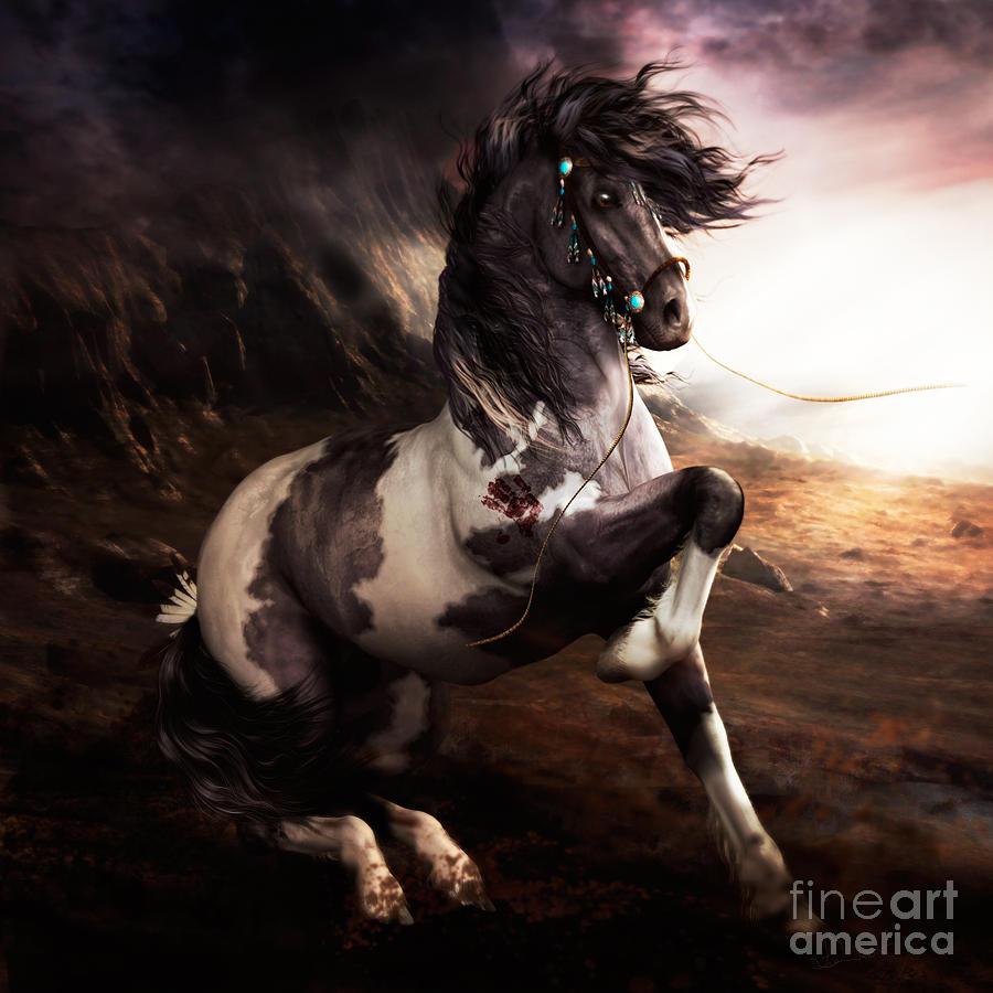Apache Digital Art - Apache Blue by Shanina Conway