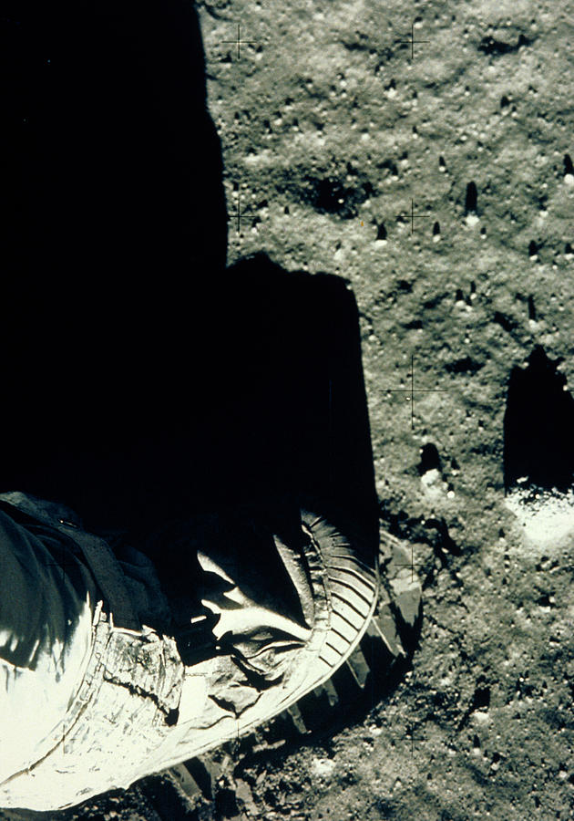 Footprint Photograph - Apollo 11 Astronauts Foot & Footprint On Moon by Nasa/science Photo Library
