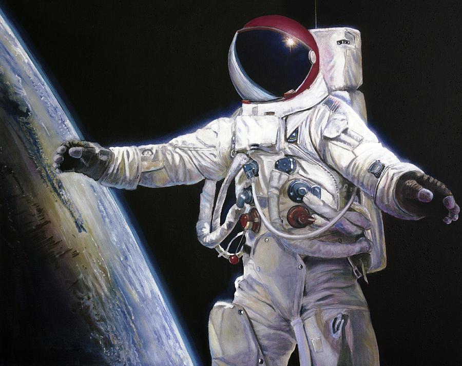 Nasa Painting - Apollo 9 - Schweickart On The Porch by Simon Kregar