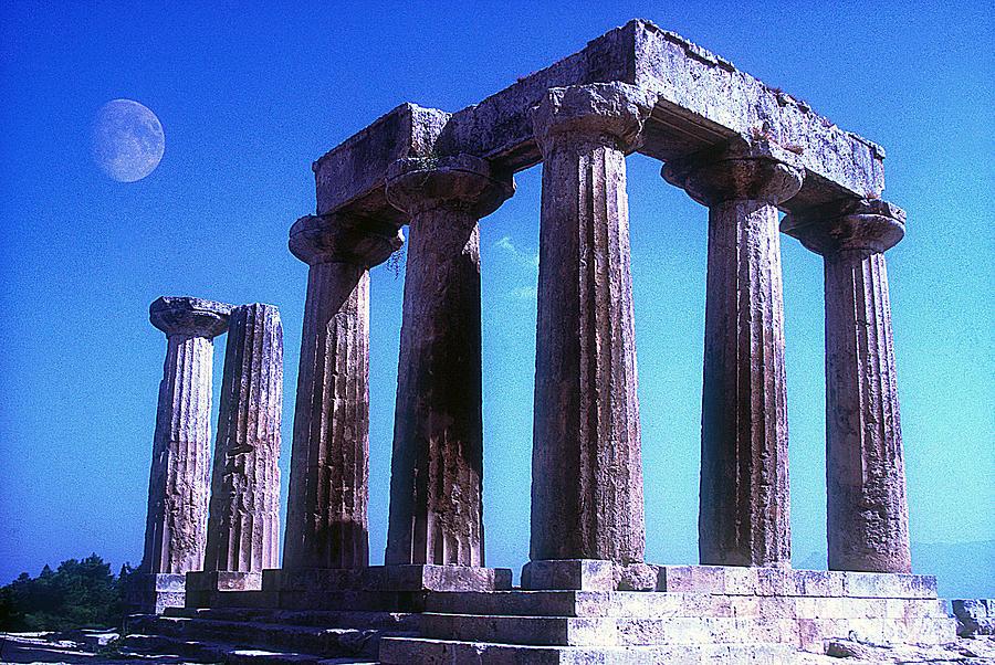 Apollo Temple With Moon Photograph