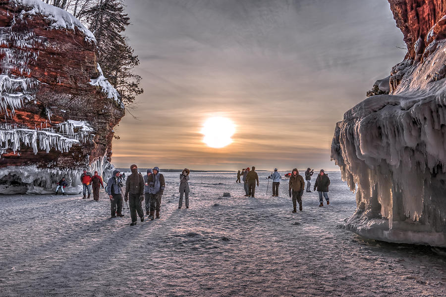 Apostle Islands Photograph - Apostle Islands Ice Cave Sunset by Shane Mossman