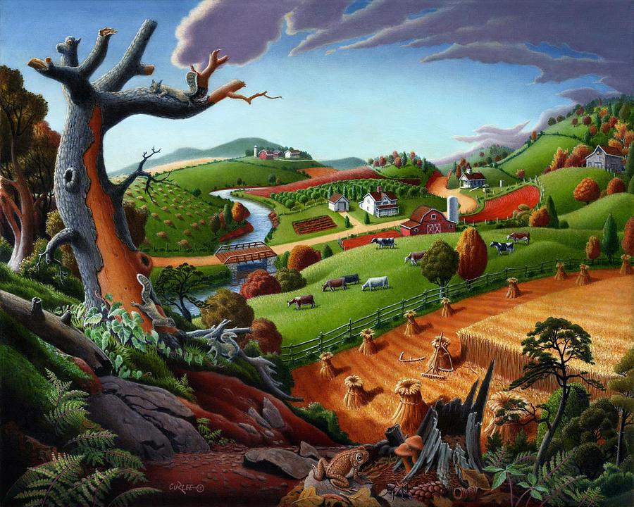 Appalachian Painting - Appalachian Fall Thanksgiving Wheat Field Harvest Farm Landscape Painting - Rural Americana - Autumn by Walt Curlee