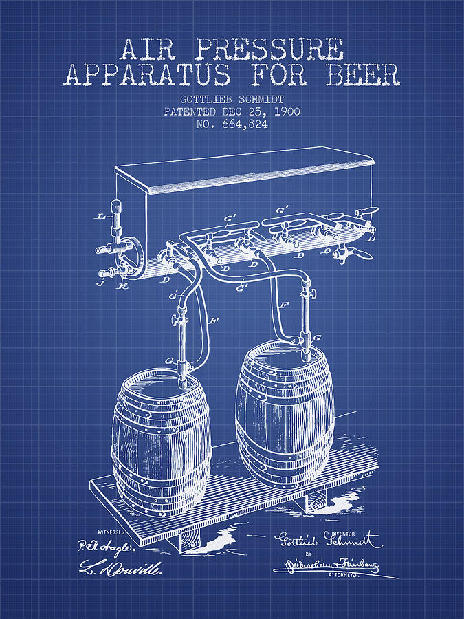 Apparatus For Beer Patent From 1900 - Blueprint Digital Art
