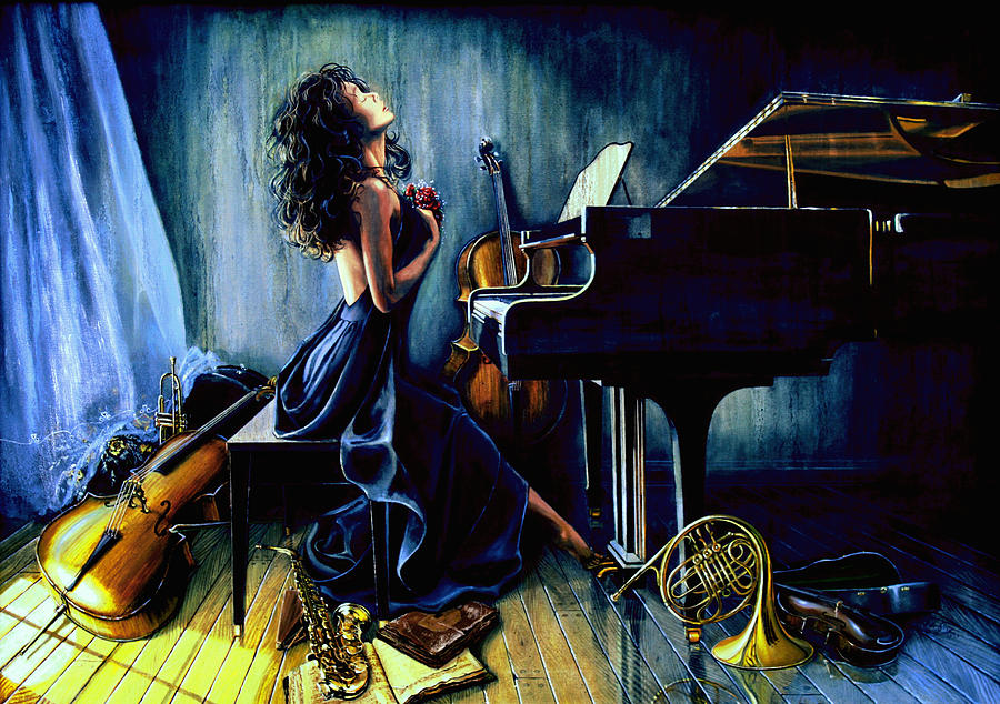 Musical Instrument Still Life Painting - Appassionato by Hanne Lore Koehler