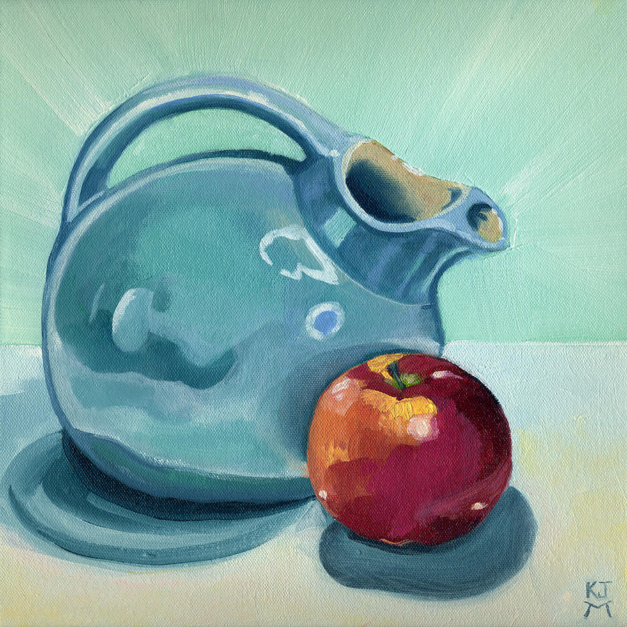 Apple Painting - Apple And Ball Pitcher by Katherine Miller