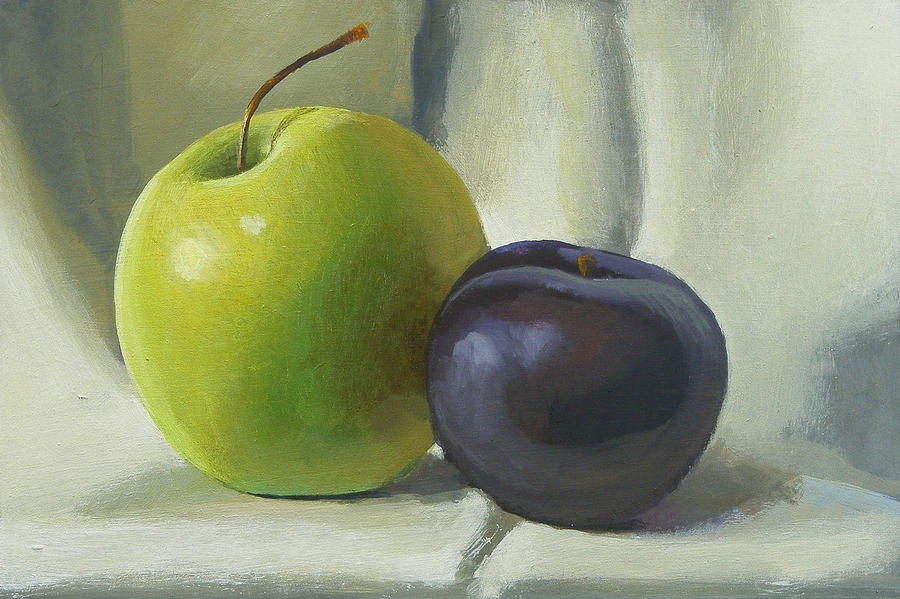 Apple Painting - Apple And Plum by Peter Orrock