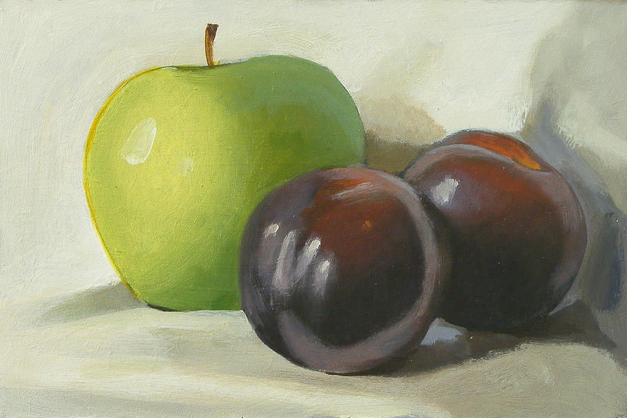 Apple Painting - Apple And Plums by Peter Orrock