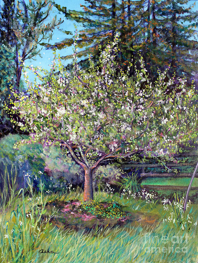 Landscape Painting Painting - Apple Blossoms And Spring Flowers by Asha Carolyn Young