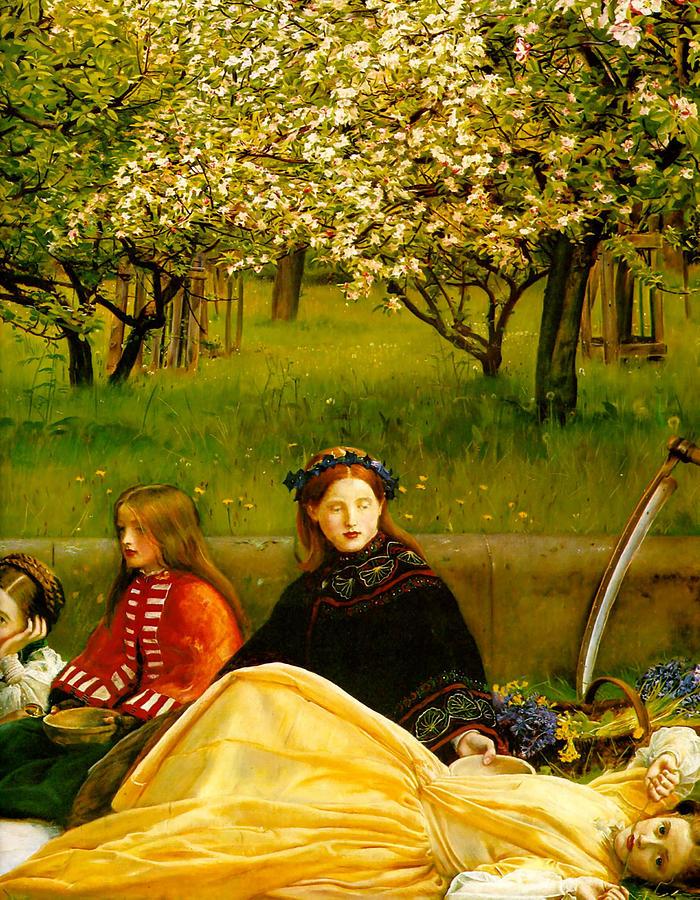 Apple Blossoms Digital Art - Apple Blossoms by John Everette Millais