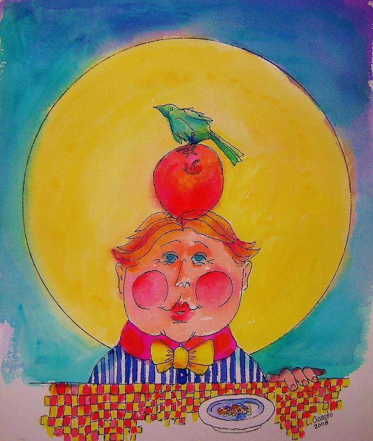 Whimsical Painting - Apple Cheeks by Lou Cicardo