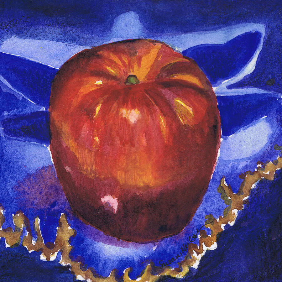 Apple Painting - Apple On Blue Tile by Susan Herbst