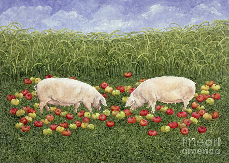 Pig Painting - Apple Sows by Ditz
