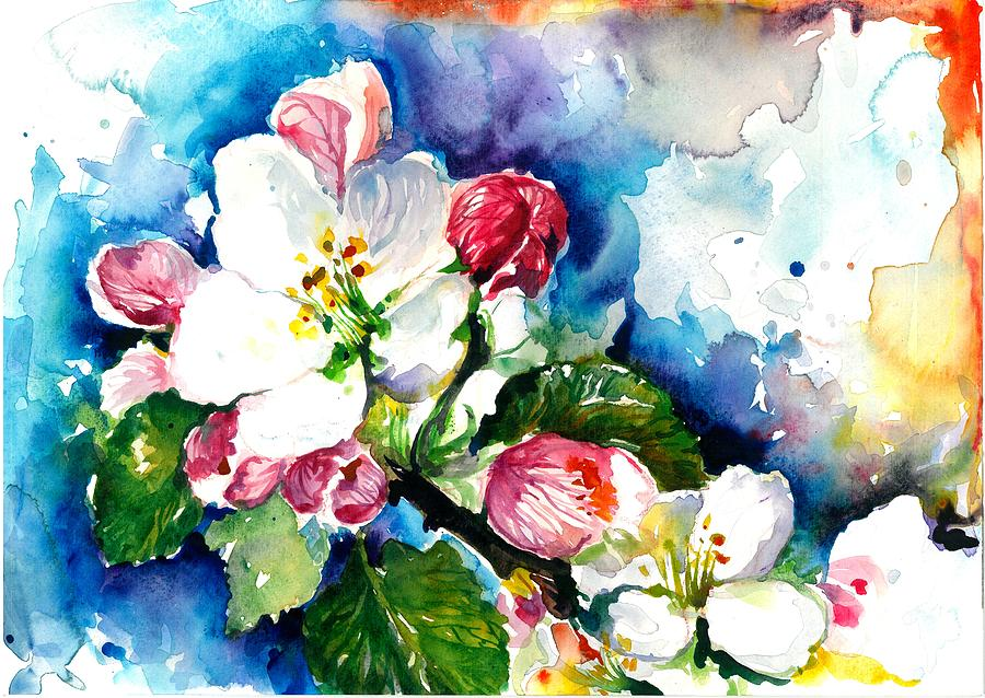 Apple Tree Blossom - Flowers Made In Watercolor Technique On Heavy Paper Painting