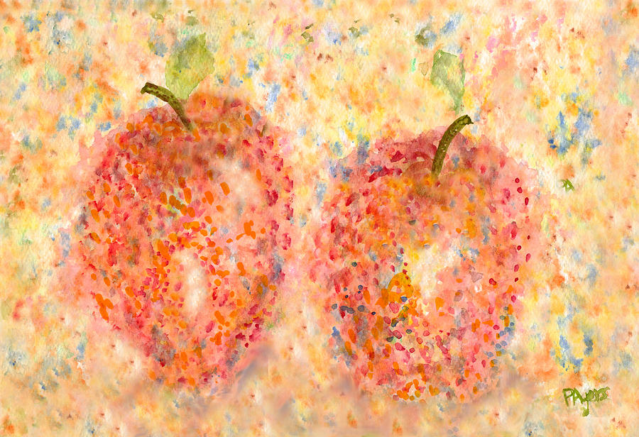 Watercolor Painting - Apple Twins by Paula Ayers