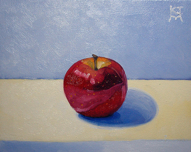 Apple Painting - Apple - White And Blue. by Katherine Miller