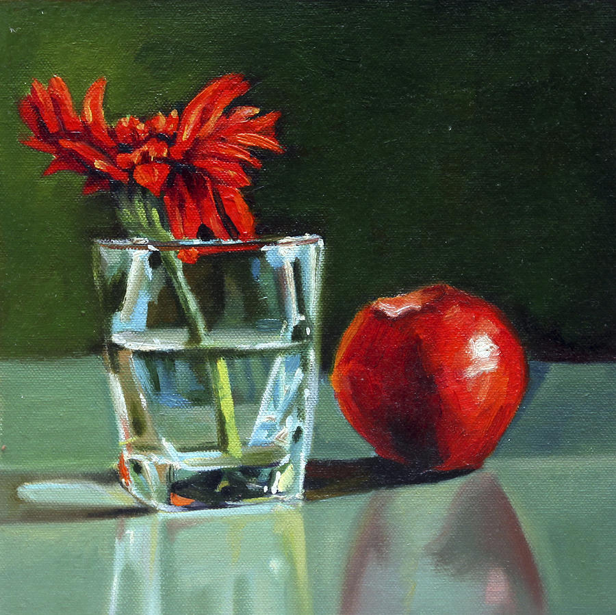 Still Life Painting - Apple With Glass by Sangeeta Takalkar