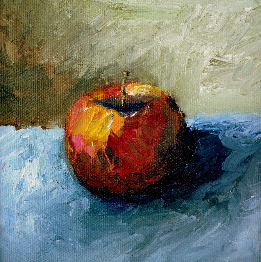 Apple Painting - Apple With Olive And Grey by Michelle Calkins