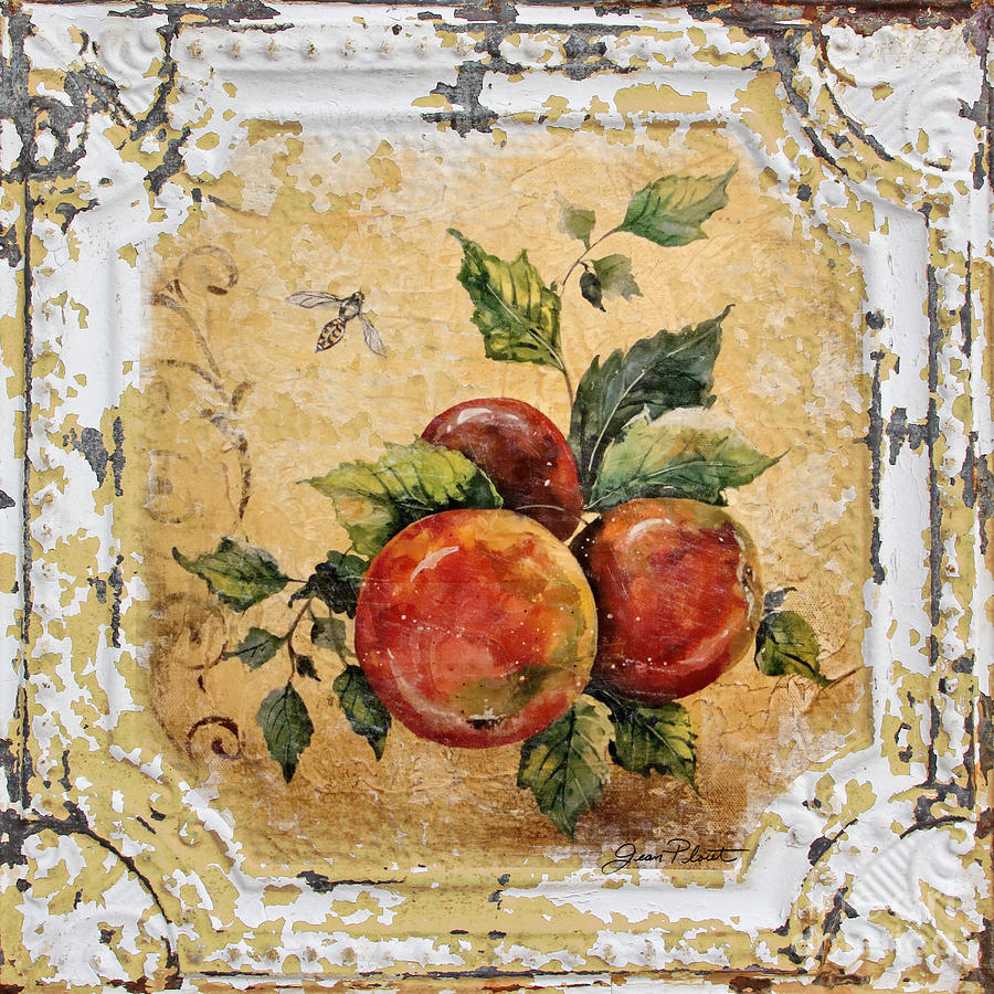 Acrylic Painting Painting - Apples And Bee On Vintage Tin by Jean Plout
